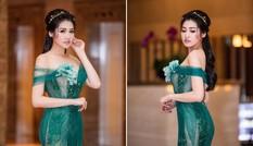 Á hậu Tú Anh khoe thân hình 'đồng hồ cát' với váy xuyên thấu
