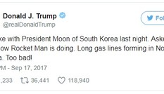 Ông Trump gọi nhà lãnh đạo Triều Tiên là 'người đàn ông tên lửa'