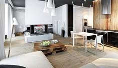 Căn hộ 50 m2 với hai tông màu đen trắng