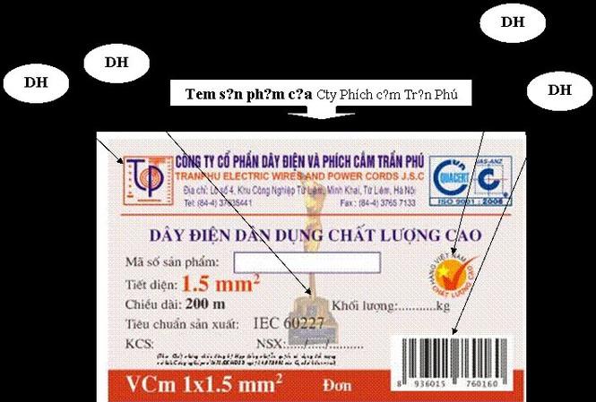 Tem sản phẩm của Cty Phích cắm Trần Phú tự tiện in những dấu hiệu riêng của Cty Cơ điện Trần Phú.