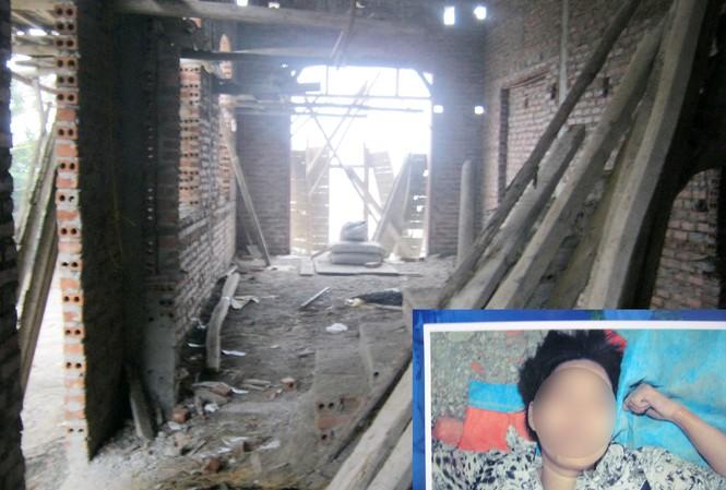 Công trình đang xây dựng dở dang của gia đình ông Nguyễn Văn Phúc và xác chết của người phụ nữ