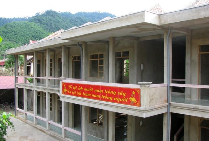 Trường THCS xã Sơn Điện, huyện Quan Sơn dang dở vì thiếu vốn  Ảnh: H.L