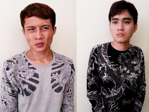 Hai đối tượng Trần Xuân Tùng và Hoàng Ngọc Điệp tại cơ quan điều tra