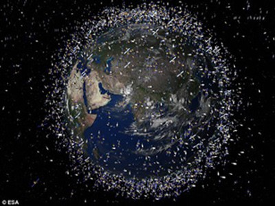Quỹ đạo ngập rác quanh trái đất - Ảnh: ESA