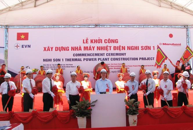 Thủ tướng chính phủ Nguyễn Tấn Dũng phát lệnh khởi công xây dựng Nhà máy nhiệt điện Nghi Sơn I tại xã Hải Hà, Tĩnh Gia, thuộc khu kinh tế Nghi Sơn(Thanh Hoas0 vào sáng 3- 7