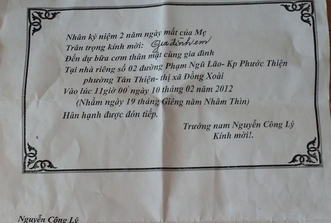 Thiệp mời cơm ghi rõ đơn vị công tác của ông Nguyễn Công Lý