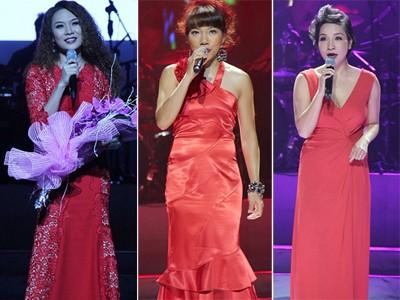 Hà Trần, Mỹ Linh, Mỹ Tâm cùng 'đụng' váy đỏ