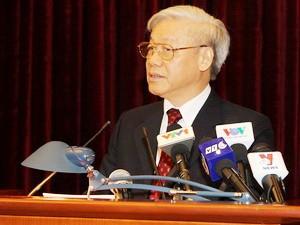 Tổng Bí thư Nguyễn Phú Trọng phát biểu bế mạc Hội nghị. (Ảnh: Trí Dũng/TTXVN)