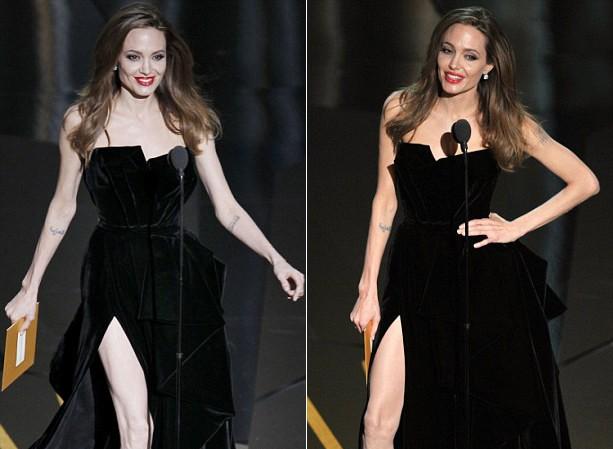 Fan tranh cãi về màn khoe chân của Jolie tại Oscar