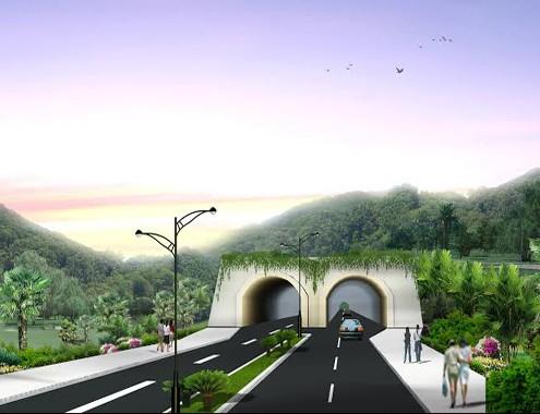 Mô hình đường hầm xuyên đèo Quy Hòa đến Tổ hợp không gian khoa học (TP Quy Nhơn). Ảnh: VnExpress