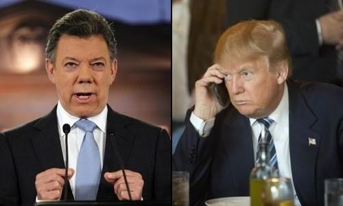 Tổng thống Mỹ Donald Trump (phải) và người đồng cấp Colombia Juan Manuel Santos. Ảnh: AP