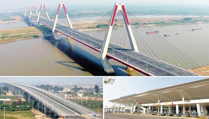 Cụm dự án Nhật Tân - Nội Bài mới khánh thành: Cầu Nhật Tân (ảnh trên), đường Võ Nguyên Giáp (trái), nhà ga T2 (phải). Ảnh: PV.