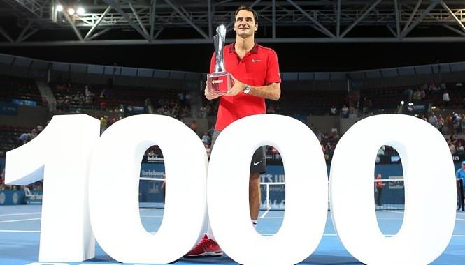 Federer trở thành cây vợt thứ 3 trong lịch sử chạm mốc 1.000 trận thắng. Ảnh: Getty Images.