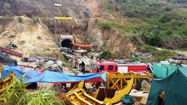 Hiện trường vụ sập hầm thủy điện Đạ Dâng - Đạ Chomo vừa qua.