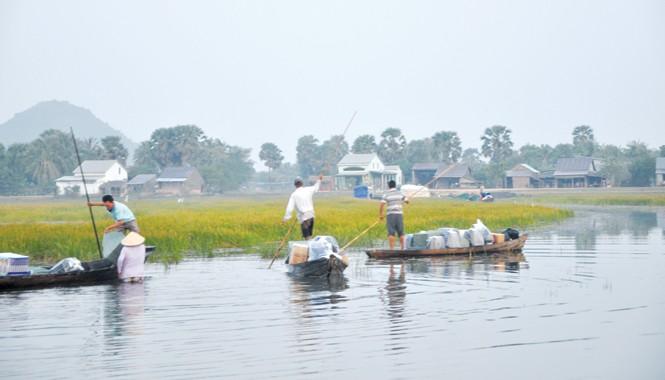 Thuốc lá lậu được đưa từ Campuchia tập kết tại Bến Xuồng, Hà Tiên (Kiên Giang). Ảnh: Hồng Lĩnh.