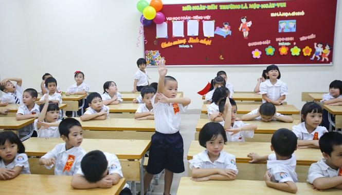 Học sinh trường Tiểu học Trần Quốc Toản - Hà Nội trong giờ học bài. Ảnh: Ngọc Châu.