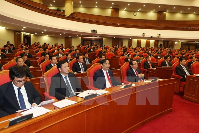 Các đại biểu dự khai mạc Hội nghị lần thứ tư Ban Chấp hành Trung ương Đảng. (Ảnh: Trí Dũng/TTXVN)