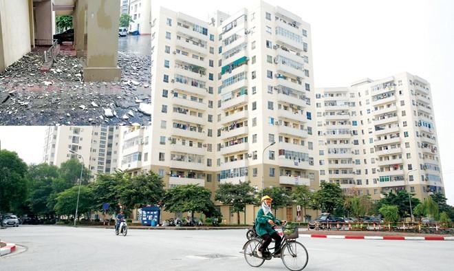 Khu đô thị Nam Trung Yên (ảnh lớn); Từng mảng vữa tường lớn của tòa nhà B11C khu đô thị Nam Trung Yên rơi sập xuống đất trong cơn mưa ngày 28/7 (ảnh nhỏ). Ảnh: Hồng Vĩnh - VNN.