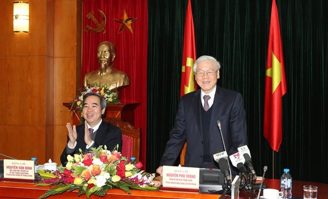 Tổng Bí thư Nguyễn Phú Trọng phát biểu tại buổi làm việc với Ban Kinh tế Trung ương. Ảnh: TTXVN.