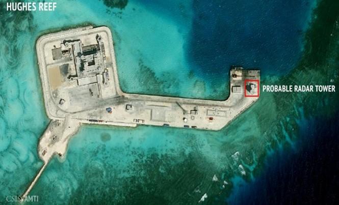 Trung Quốc xây dựng trái phép trên đá Tư Nghĩa thuộc quần đảo Trường Sa. Ảnh: AMTI.