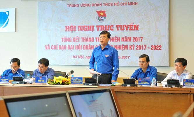 Bí thư thứ nhất T.Ư Đoàn Lê Quốc Phong phát biểu tại hội nghị. Ảnh: Xuân Tùng.