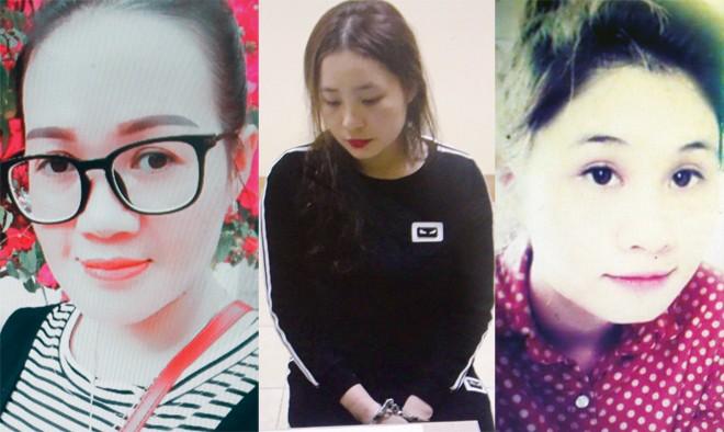 """3 mỹ nữ Hồ Thị Cẩm Tú, Trần Thị Ngọc Anh, Trịnh Thị Thu Hà bị bắt vì buôn bán """"cái chết trắng""""."""
