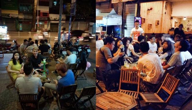 """Hút shisha được xem như một mốt chơi """"thời thượng"""" tại Sài Gòn. Ảnh: V.H"""
