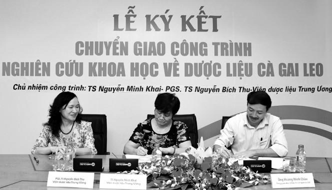 Lễ ký kết chuyển giao công trình nghiên cứu về Cà gai leo. TS Nguyễn Thị Minh Khai (giữa), PGS.TS Nguyễn Thị Bích Thu (trái)