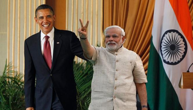 Tổng thống Mỹ Barack Obama và Thủ tướng Ấn Độ Narendra Modi. Ảnh: Getty Images