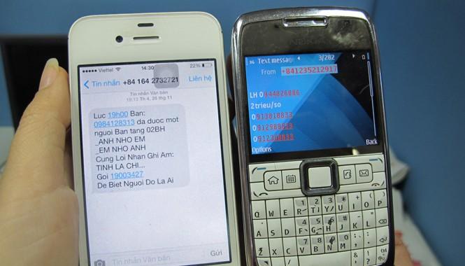 90% người dùng di dộng ở Việt Nam thường xuyên phải nhận những tin nhắn rác như thế này. Ảnh: Nguyễn Hoài
