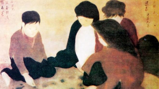 """""""Chơi ô ăn quan"""" - tranh lụa của Nguyễn Phan Chánh."""