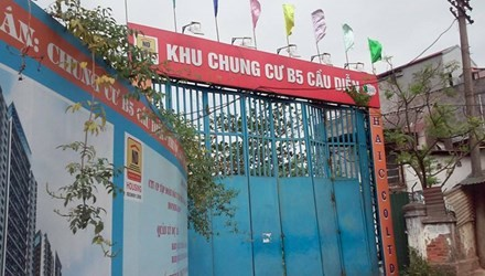 Dự án khu chung cư B5 Cầu Diễn dang dở có dấu hiệu lừa đảo của Housing Group, do Đại biểu Quốc hội Châu Thị Thu Nga làm Chủ tịch. Ảnh: Minh Tuấn.
