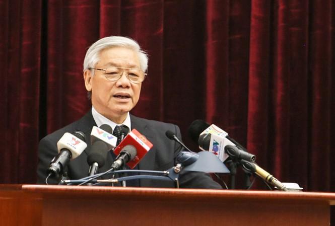 Tổng Bí thư Nguyễn Phú Trọng phát biểu tại Hội nghị Tổng kết ngành Tổ chức xây dựng Đảng ngày 29/1. Ảnh: Như Ý.