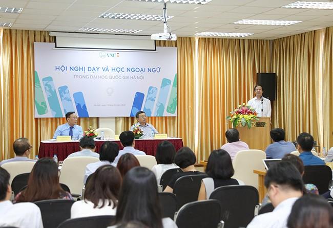 Giám đốc ĐHQGHN Nguyễn Kim Sơn phát biểu tại hội nghị. Ảnh: Toản Trần/ VNU