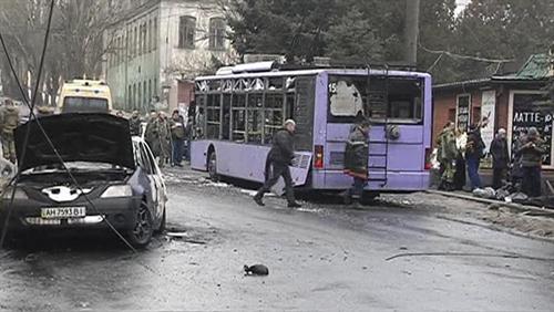 Hiện trường vụ pháo kích ngày 22/1 tại Donetsk