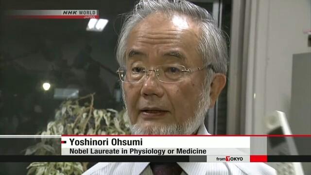 Giáo sư Ohsumi Yoshinori. Ảnh: NHK