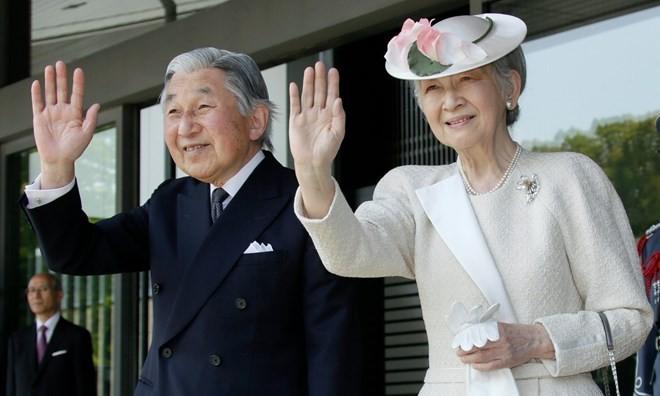 Nhà vua Nhật Bản Akihito và Hoàng hậu. (Nguồn: EPA)