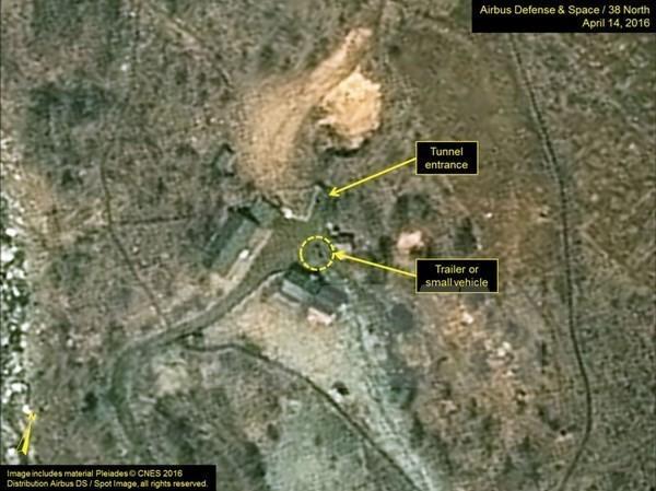Bãi thử hạt nhân Punggye-ri của Triều Tiên được chụp qua vệ tinh. (Nguồn: 38 North/TTXVN)