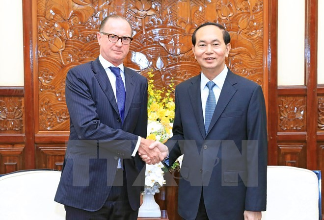 Chủ tịch nước Trần Đại Quang tiếp Ngài Thomas Loidl, Đại sứ Đặc mệnh toàn quyền Cộng hòa Áo tại Việt Nam đến chào từ biệt. (Ảnh: Nhan Sáng/TTXVN)