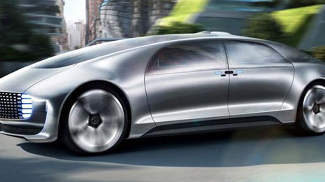 Hình ảnh chiếc Mercedes-Benz's F015 tại CES Las Vegas 2015.