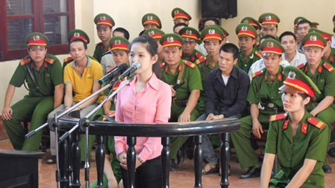 Trần Thị Thu Điệp tại phiên tòa.