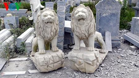 Phần lớn hiện vật ngoại lai trong di tích ở Hà Nội là sư tử đá (Ảnh VOV)