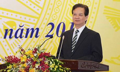 Thủ tướng Nguyễn Tấn Dũng phát biểu chỉ đạo nhiệm vụ của Văn phòng Chính phủ. Ảnh: VGP/Quang Hiếu