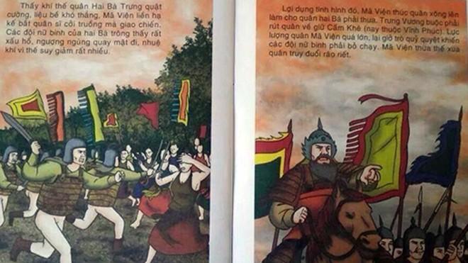 Cuốn sách Sử có hình vẽ quân lính không mặc quần.