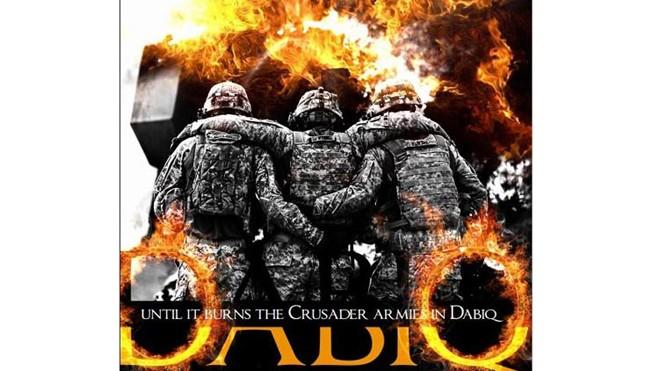 """Minh họa trên Tạp chí Dabiq dẫn lời IS tuyên chiến gửi đến phương Tây """"cho đến khi nghiền nát quân thập tự chinh ở Dabiq""""."""
