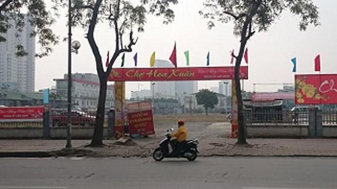 Điểm chợ hoa xuân vừa hoàn thành tại địa bàn quận Thanh Xuân