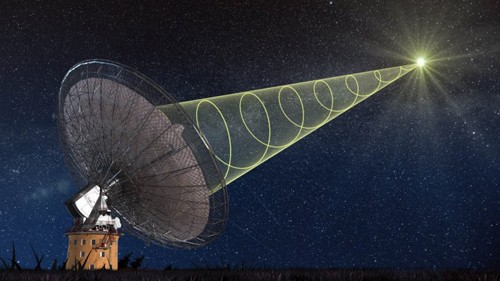 Tín hiệu vô tuyến bí ẩn được quan sát với kính thiên văn Parkes. Ảnh: Swinburne Astronomy Productions