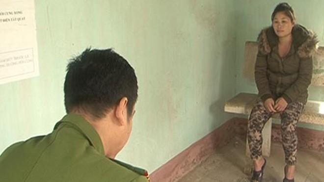 Lưu Thị Hồng Thương tại cơ quan điều tra.