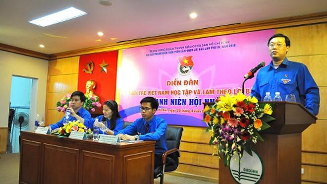 Anh Lê Quốc Phong, Ủy viên dự khuyết BCH Trung ương Đảng, Bí thư thứ nhất BCH T.Ư Đoàn tại diễn đàn.