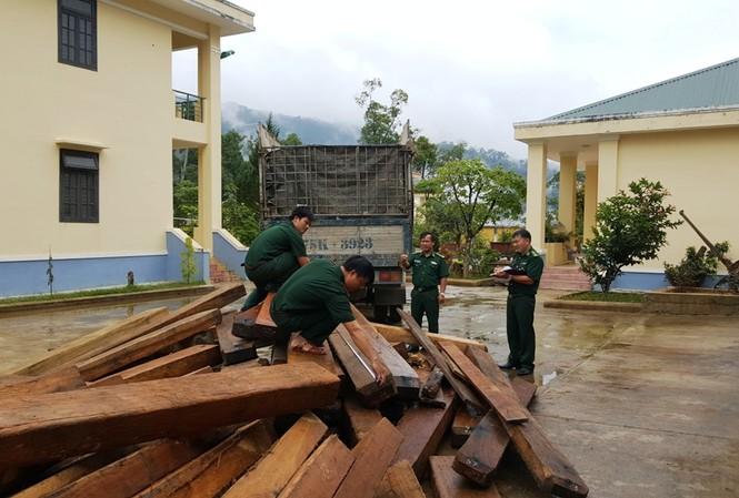Lực lượng biên phòng tại TT-Huế tạm giữ số gỗ lậu phục vụ công tác điều tra.